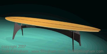 Surf Board Table rendering by Todd Fillingham.