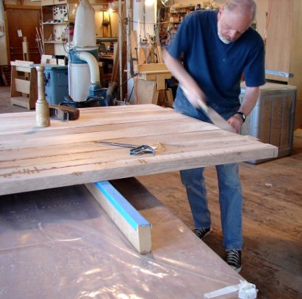 Todd cutting the table to size.