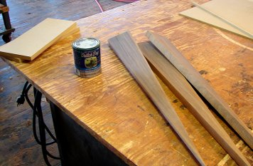 A couple of pieces of MDF, some interesting walnut cut-offs and a nice green latex paint.