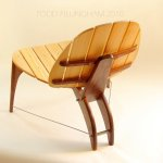 Deck chair in cedar & walnut. Etsy.